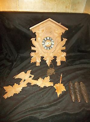 Vintage Germany Cuckoo Clock Bird Design  With Weights  For Parts Or Repair