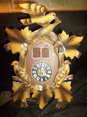 Vintage Cuckoo Clock Bird Design  With Weights  For Parts Or Repair