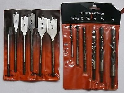 DRILL BITS   BLACK & DECKER WOOD BORING BIT SET    plus SET OF 5 WOOD DRILLS