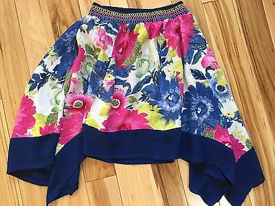 CHILDRENS PLACE Asymmetrical RAYON Skirt FLORAL Pattern Size 6 Girls