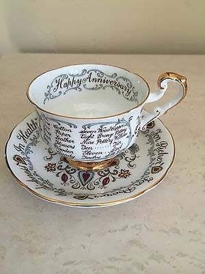 "VINTAGE PARAGON BY APPOINTMENT To QUEEN ""HAPPY ANNIVERSARY"" TEA CUP AND SAUCER"