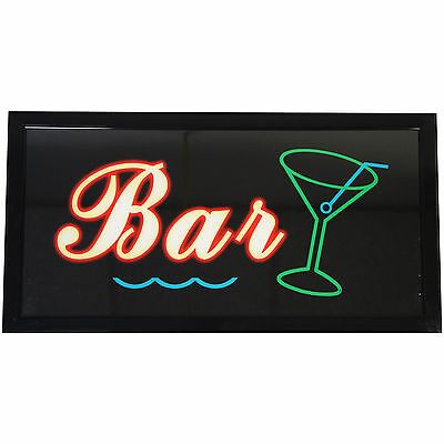 "Bright 19x10"" Backlit Illuminated BAR LED Lights Open Business Sign neon Display"