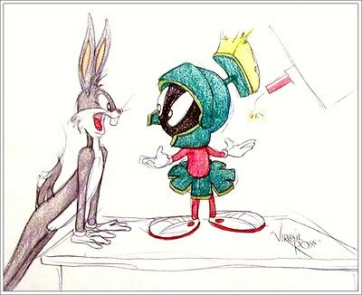 SIGNED Virgil Ross Original Color Drawing of Marvin the Martian, Bugs Bunny COA