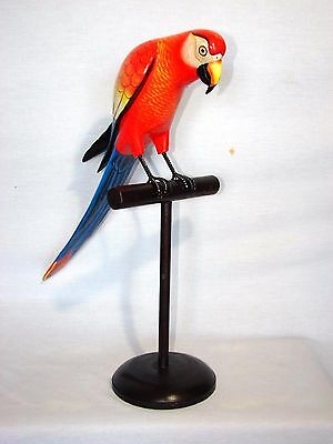 Beautiful Parrot On Stand Hand Carved Wood Tropical Sculpture Bird Decor Tiki