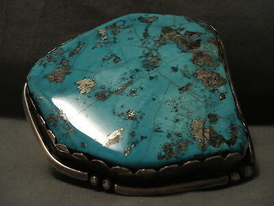 246 Grams One Of Biggest Morenci Turquoise Vintage Navajo Silver Bracelet