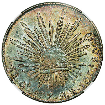 1877-GoFR Wide Date Mexico Cap & Rays 8 Reales - KM.377.8 - NGC AU 55 (Gorgeous!