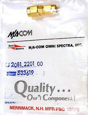 RF COAX ADAPTER - SSMA-PLUG<=>SMA-PLUG - M/A-COM 2081-2201-00 - *UNUSED* - Qty:1