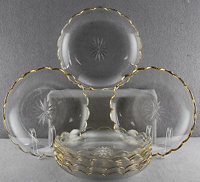 8Pcs As Lot Antique Scalloped Rim Ice Cream Dishes Quality Crystal Star Cut 6.5