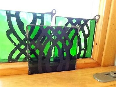 Vintage Italian Art Glass Green Glass Squares Black Pattern Lead Loop Corner