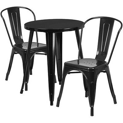 24in Round Black Metal Indoor-Outdoor Table Set with 2 Cafe Chairs NEW