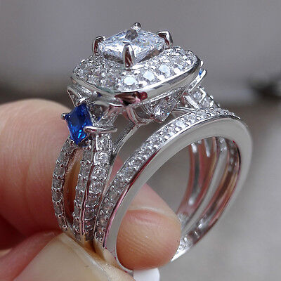 2ct Princess Blue Sapphire 925 Sterling Silver Engagement Wedding Ring Set Sz 7