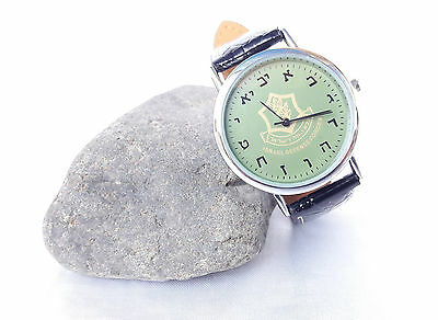 women/men Watch  israel zahal idf defense force wristwatch Hebrew alphabet.green