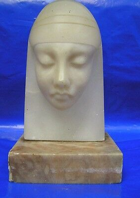 Amazing Vintage  Art  DECO  Marble Bust of Lady - EGYPTIAN Design