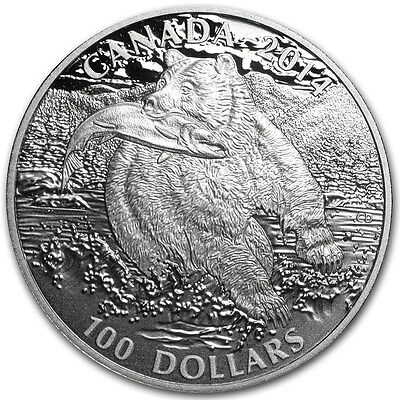 2014 $100 for $100 GRIZZLY BEAR Silver Coin Canada Wildlife in Motion