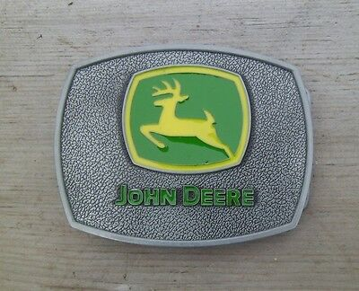 John Deere Tractor Belt Buckle Silver / Green  NEW lg2