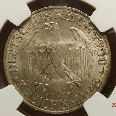 Original 1930 Germany Ngc Ms 64 Graf Zeppelin 3 Mark Silver C499