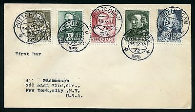 Netherlands 1938 Personalities  First Day Cover Mailed To New York City