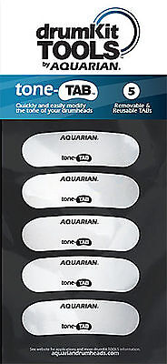 Aquarian TONE TAB Reusable Tone Modifier for snare and tom Drumheads 5 PACK