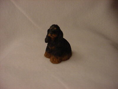 COCKER SPANIEL black tan brown puppy TiNY DOG Resin Figurine MINIATURE Statue
