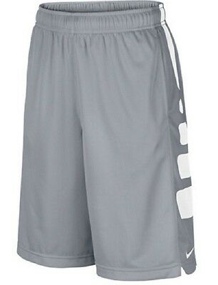 Nike Elite Boys Wolf Gray Basketball Athletic Sports Shorts Small New