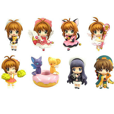 8PCS Anime Card Captor Sakura Kinomoto Sakura PVC Figure Toy Cosplay New in Box