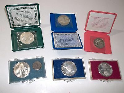 Collection of 6 Israel 90% & 50% Coins  in Cases Proof & UNC. - FREE SHIPPING.