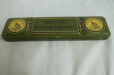 Vintage Devoe & Raynolds Co Inc Water Colors Green Tin Box W/ Brushes And Tray