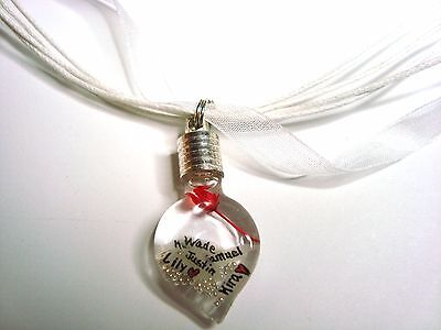 Mothers Name on Rice heart vial pendant ribbon necklace Custom children names