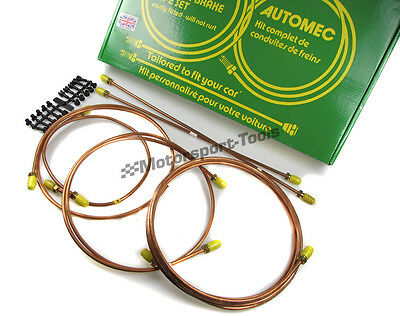 Automec Copper Brake Pipe Set Kit For Peugeot 205 Junior