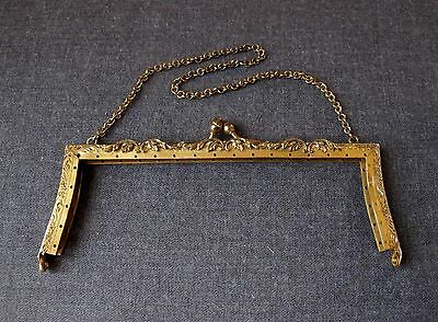 Antique Decorated Gold Plated Metal Purse Frame With Chain Strap