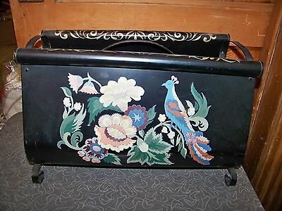 Vintage Hand Painted Bird Of Paradise and Flowers Tole Ware Magazine Rack
