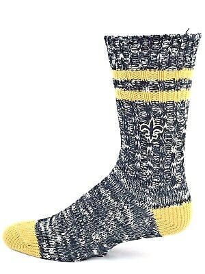 a1a69f0c NEW ORLEANS SAINTS Football State Stripe Crew Socks Black Gold ...