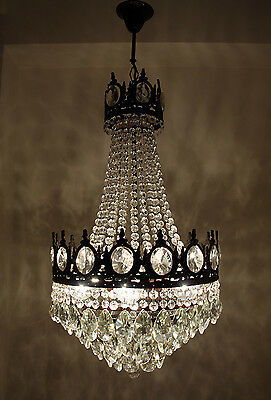 Antique French Basket Style Brass & Crystals Bronze Tone LARGE Chandelier 1950's