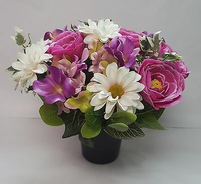 Artificial Grave Flower Arrangement All Round Ranuncula Daisy Hydrangea Lilac