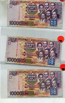 2003 ghana 10000 cedis currency note lot of 3