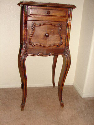 Antique Furniture: Louis XV French Rosewood and Rose Marble Nightstand