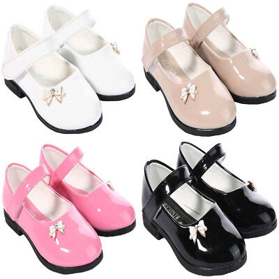 Girls Infant Bow Shoes Mary Jane School Patent Pink White Black Shoes Uk 4-12