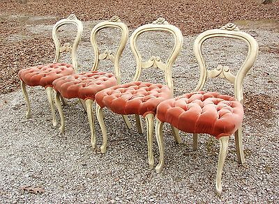 4 Vintage French Country Tufted Seats Dining Room Chairs! Velvet Upholistery!