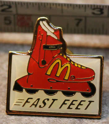 McDonalds Fast Feet Rollerblade Employee Collectible Pinback Pin Button