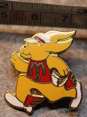 McDonalds Running Bunny Rabbit Easter Employee Collectible Pinback Pin Button
