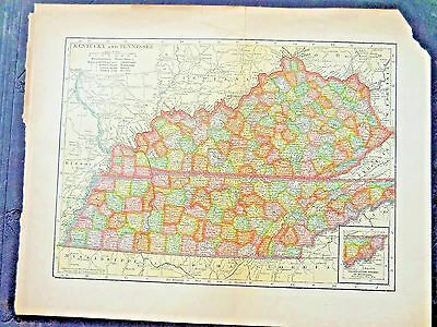Kentucky & Tennessee    1904 Map Original Colored Antique Map, Great Condition