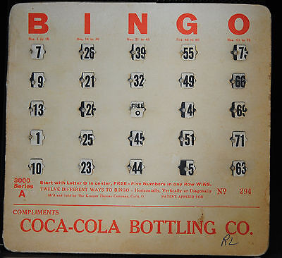 1940s COCA COLA BINGO BOARD IN VG/EX CONDITION