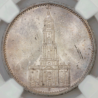 1934-F Germany, Third Reich Silver 5 Reichsmark (Potsdam) KM.83 - NGC MS 63
