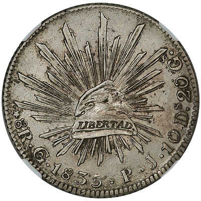 1835-GoPJ Mexico Cap & Rays 8 Reales Star on Cap - KM.377.8 - NGC AU Details
