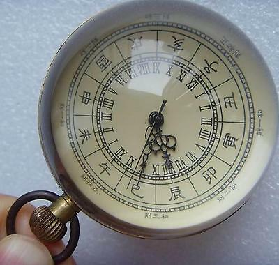 Collection chinese word old brass glass ball mechanical clock work well,60mm