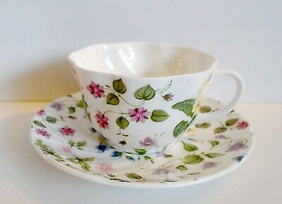 Rosina Queens Country Meadow Large Breakfast Cup & Saucer Pink Lavender Blue EUC