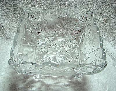 vintage Crystal Salad fruit dessert bowl  unbranded large square - footed