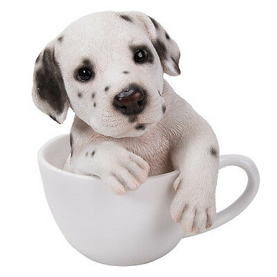 New TEACUP PUPS Figurine Statue DALMATIAN DOG PUPPY in Cup Mug WHITE SPOTS BLACK