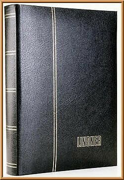 Lindner 1185L-S Stockbook LUXUS Leather with 60 black pages, 230 x 305 x 45 mm,