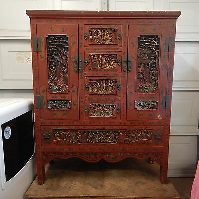 Chinese Cabinet Quality Old Red Lacquer Antique Original Hardware Fine Asian Art